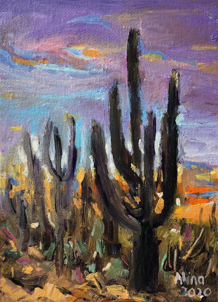"""Saguaro Cactus "" original fine art by Alina Vidulescu"