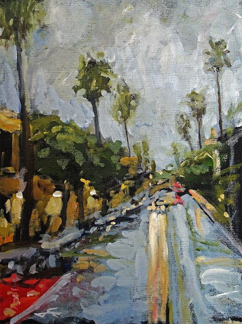 """""""Mission Rain"""" original fine art by J. Farnsworth"""