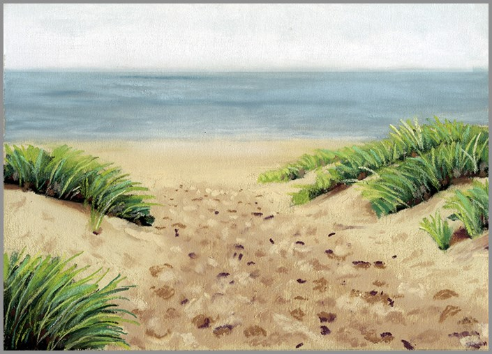 """Beach Footprints pastel painting"" original fine art by Ria Hills"