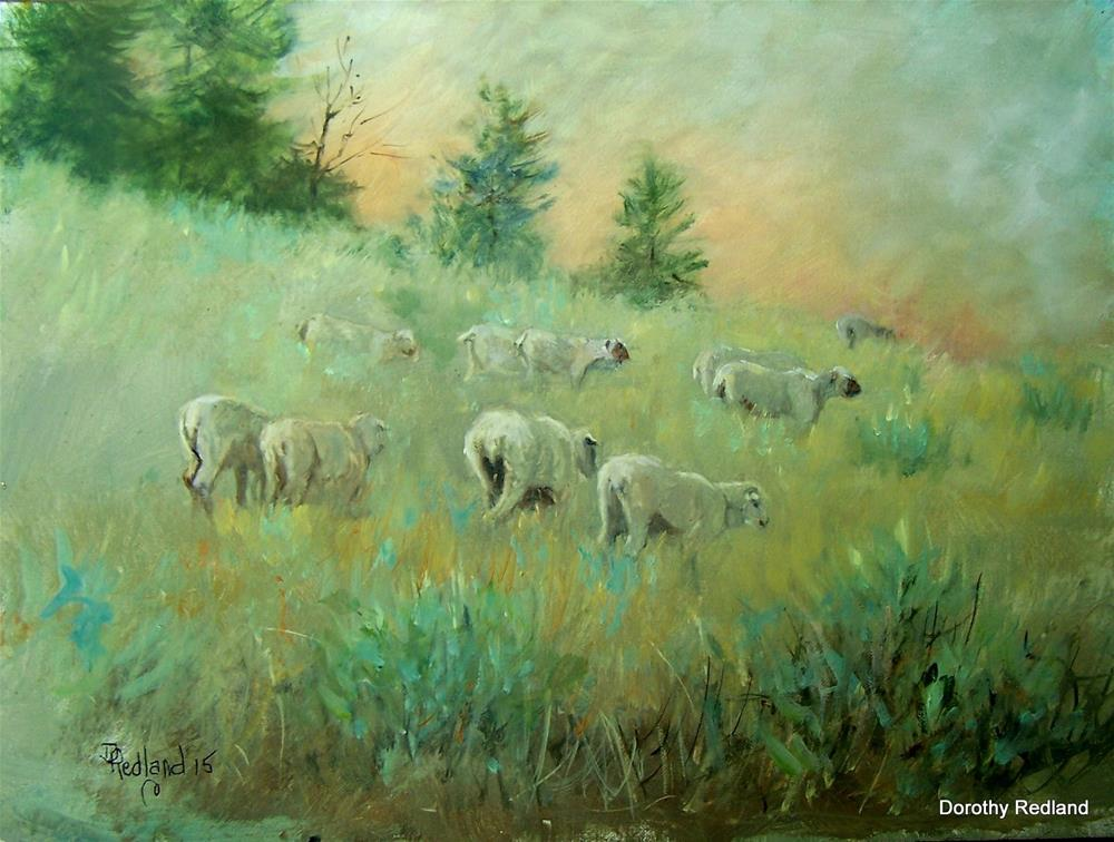 """Trailing the lambs"" original fine art by Dorothy Redland"