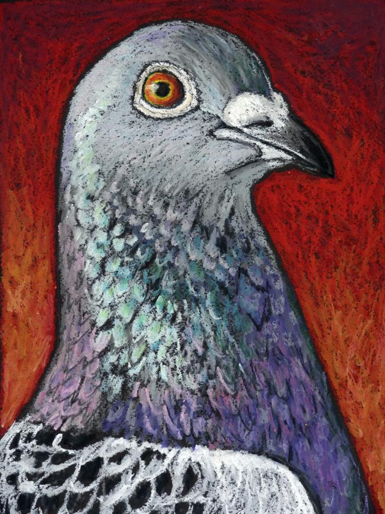"""Racing Pigeon Portrait"" original fine art by Ande Hall"