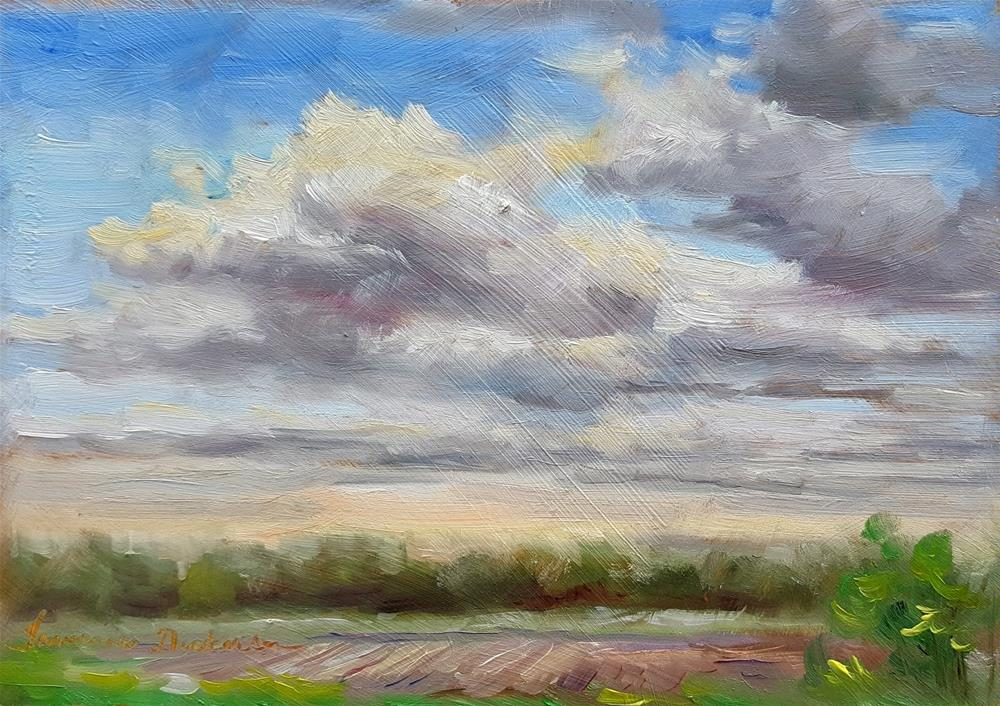 """""""Clouds Over the Pasture"""" original fine art by Tammie Dickerson"""