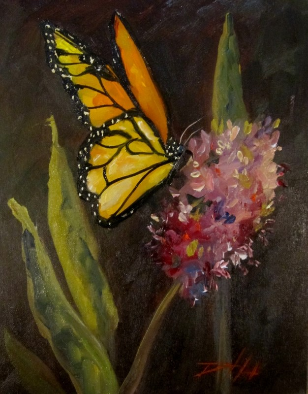 """Butterfly and Flower"" original fine art by Delilah Smith"