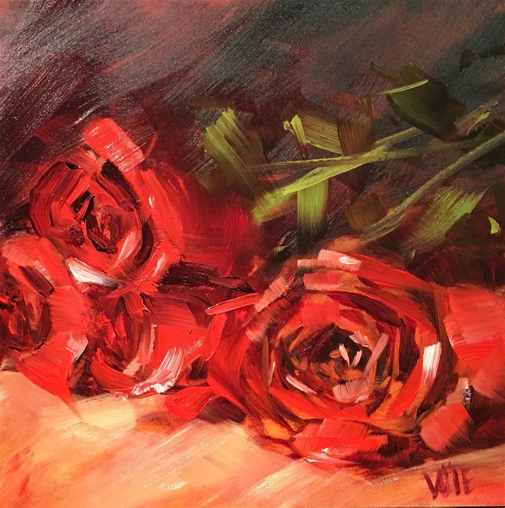"""#282 Warm Up Roses"" original fine art by Patty Voje"