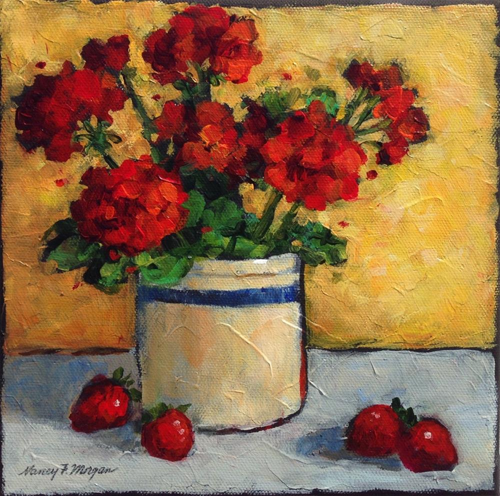 """Geraniums and Strawberries"" original fine art by Nancy F. Morgan"