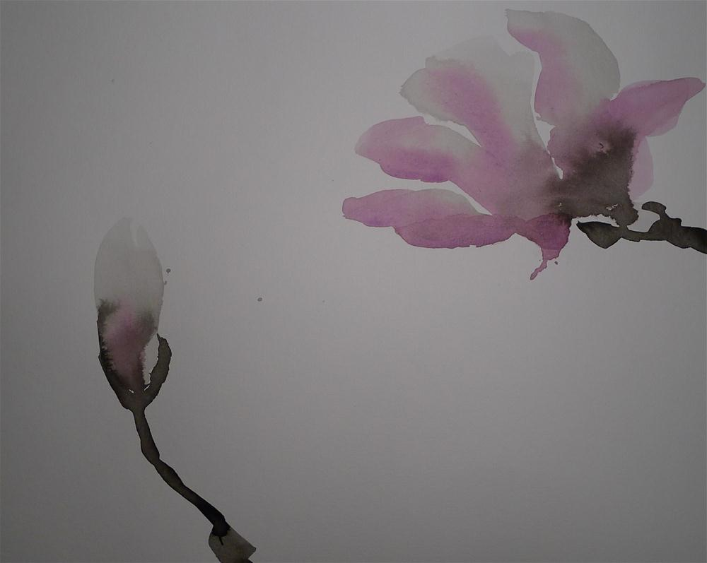 """Pink magnolia"" original fine art by Ulrike Schmidt"