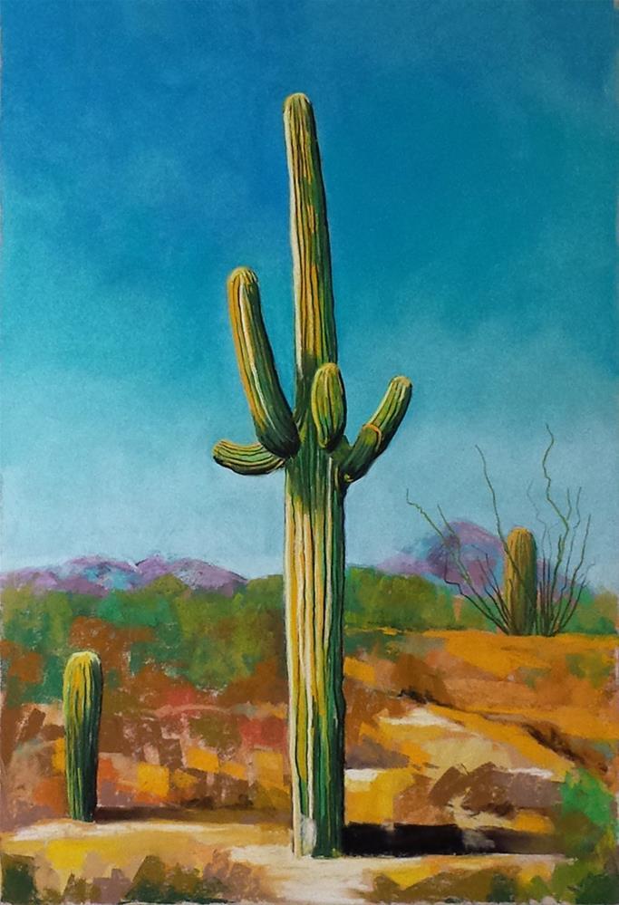 """Saguaro cactus painting"" original fine art by Ria Hills"