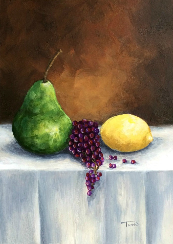 """""""Another Pear with Grapes and Lemon"""" original fine art by Torrie Smiley"""