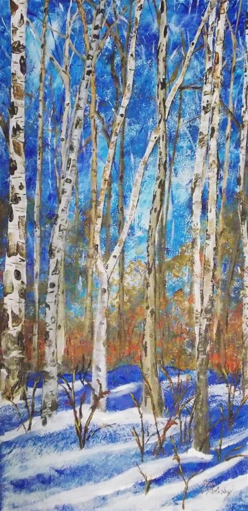 """""""Late Winter Birch Forest """" original fine art by Jan Molesky"""