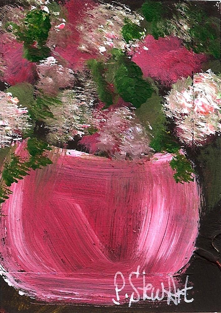 """""""ACEO Pink Carnations in a pink bowl, Original art, not a print, Acrylic on Black background"""" original fine art by Penny Lee StewArt"""