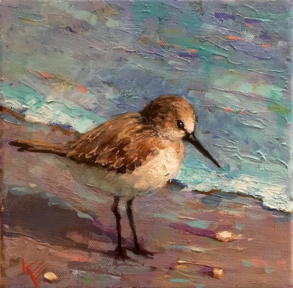 """Shore Bird & Surf"" original fine art by Krista Eaton"
