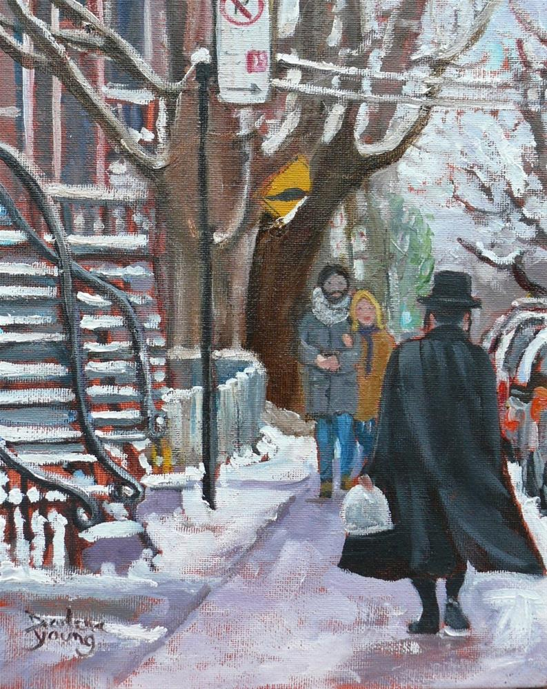 """""""1076, Crossing Paths, Mile-End, Montreal winter Scene, 8x10, oil on board"""" original fine art by Darlene Young"""