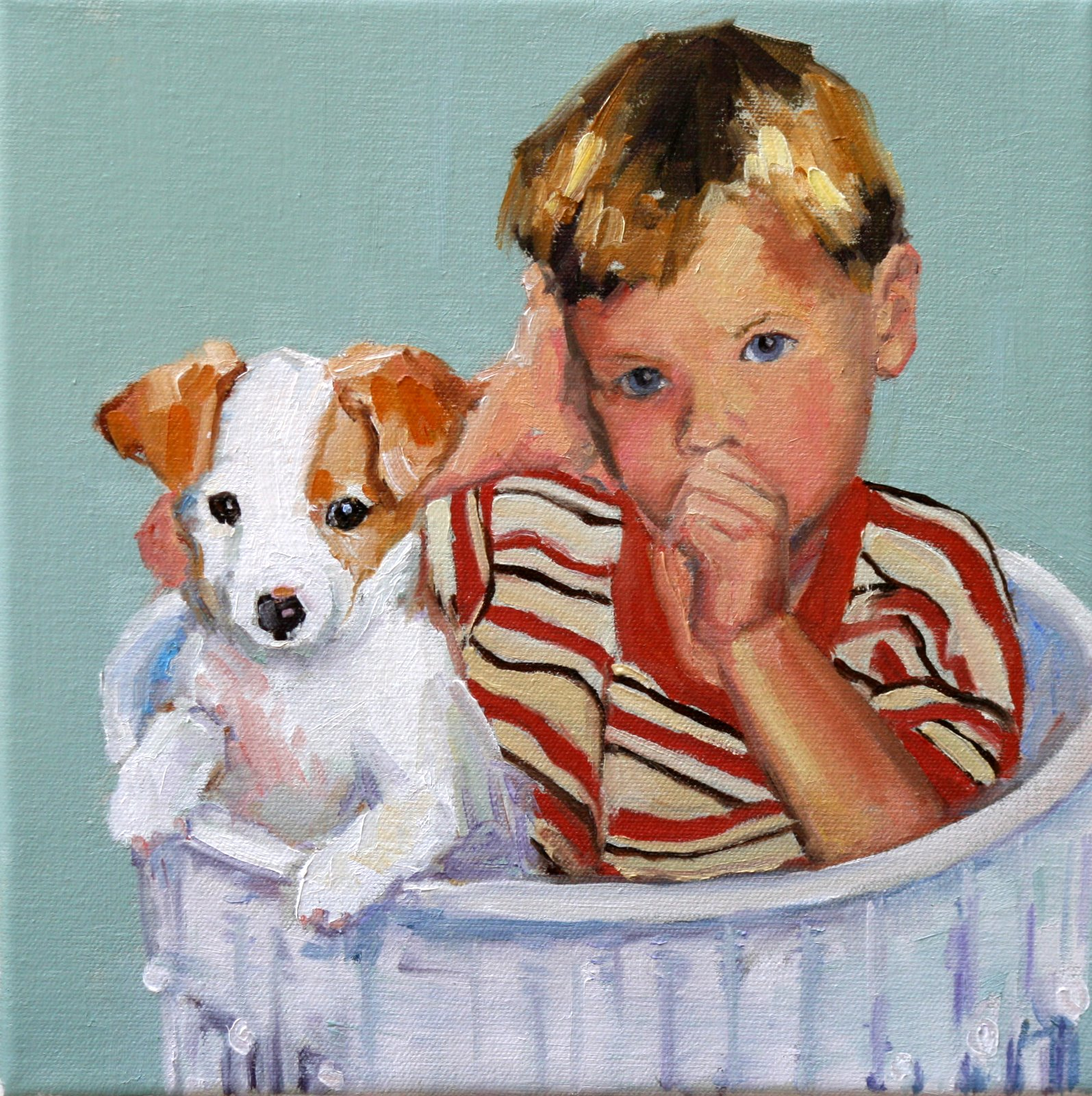 """puppy love"" original fine art by Carol Carmichael"