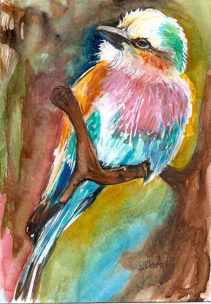"""5x7 Lilac Breasted Roller Colorful Bird painting Watercolor by Penny StewArt"" original fine art by Penny Lee StewArt"