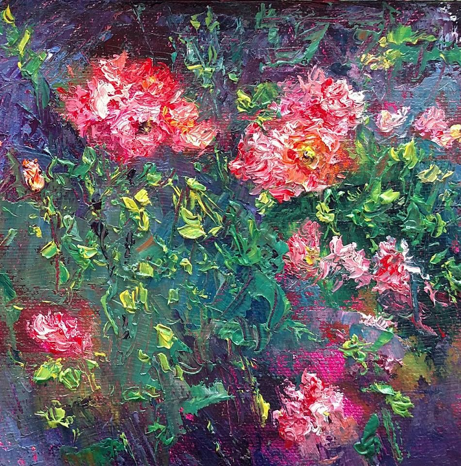 """""""Cloudy Day Roses"""" original fine art by S. Lynne Price"""