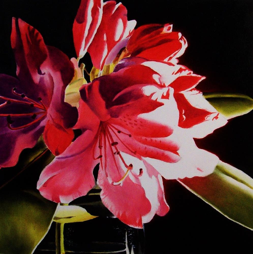 """""""Red Rhododendron"""" original fine art by Jacqueline Gnott, TWSA, WHS"""