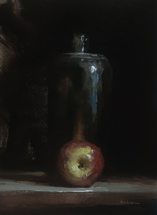 """""""Apple with Bottle"""" original fine art by Neil Carroll"""