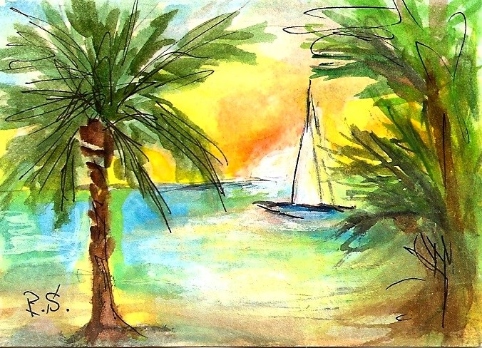 """ACEO Tropical Sunrise Palm Trees Sailboat Seascape Miniature Penny StewArt"" original fine art by Penny Lee StewArt"