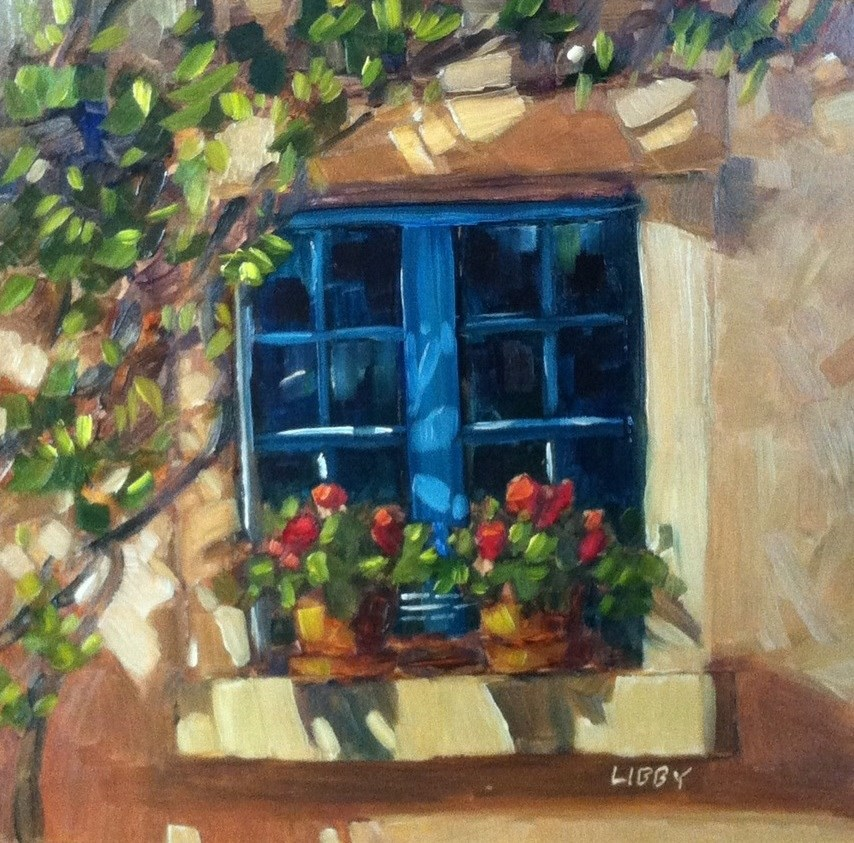 """""""Two Geraniums"""" original fine art by Libby Anderson"""