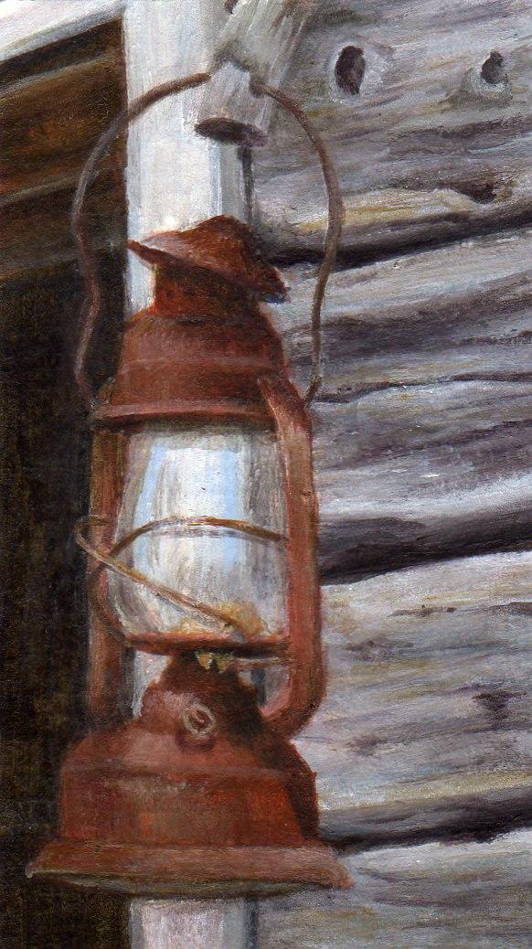 """Lumberman's Lantern"" original fine art by Debbie Shirley"