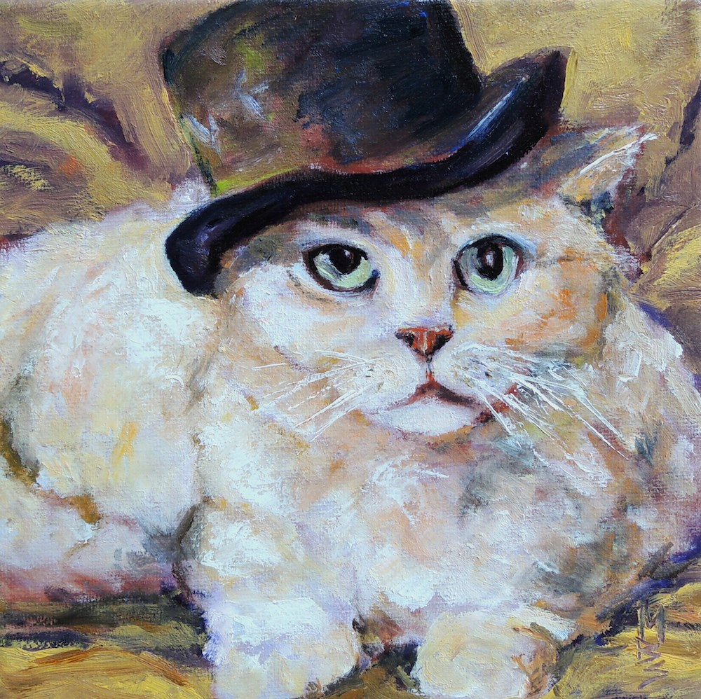 """""""Top Hat and Fur"""" original fine art by Mary Schiros"""