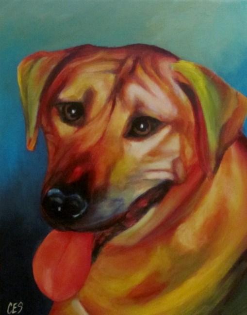 """Custom Abstract Pet Portrait: Kito"" original fine art by ~ces~ Christine E. S. Code"