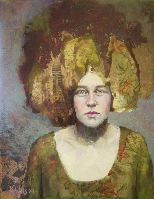 """Green Dress"" original fine art by Katie Wilson"