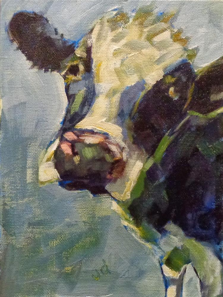 """Cow 15...I'm blue for you"" original fine art by Jean Delaney"