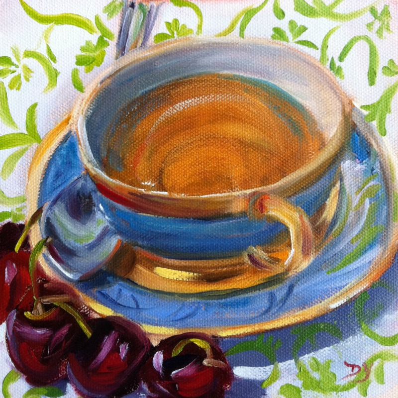 """""""Tea and Cherries, oil on canvas board, 6x6"""" original fine art by Darlene Young"""