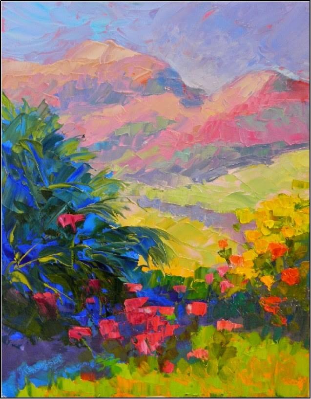 """""""Wildflower Meadow, 11x14, oil on board, palette knife, mountain, colorist art, wildflowers"""" original fine art by Maryanne Jacobsen"""