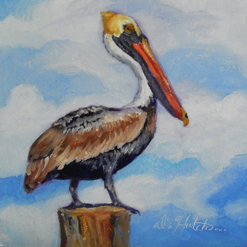 """Pelican on a Post"" original fine art by Diane Hutchinson"