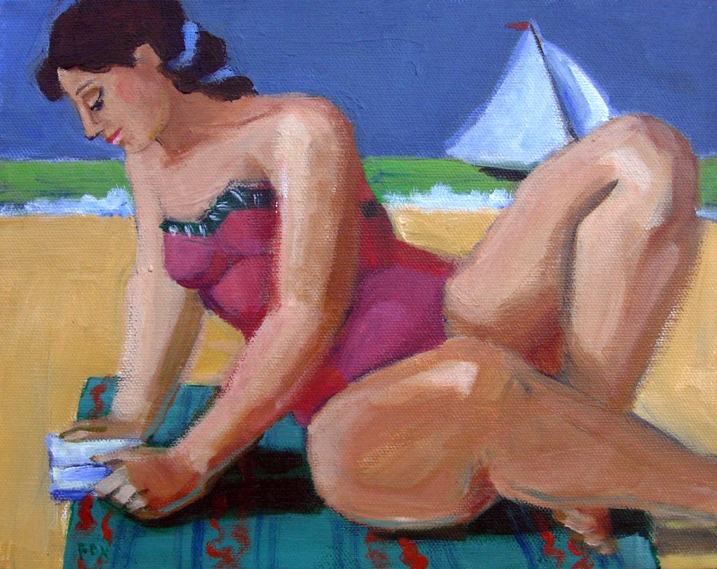 """Figurative oil painting, woman, female figure, figurative art, beach, Marie Fox"" original fine art by Marie Fox"