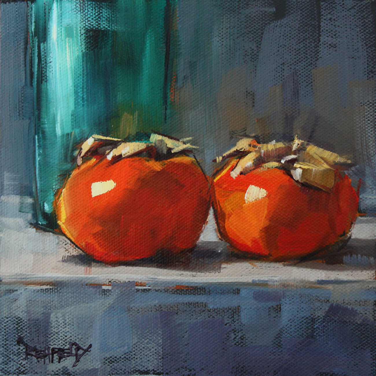 """Turquoise and Persimmon Orange"" original fine art by Cathleen Rehfeld"