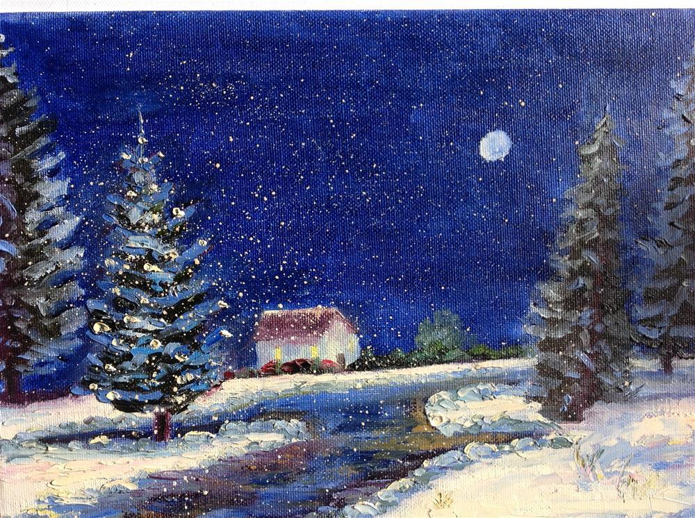 """Snowy Eve"" original fine art by Rose Brenner"