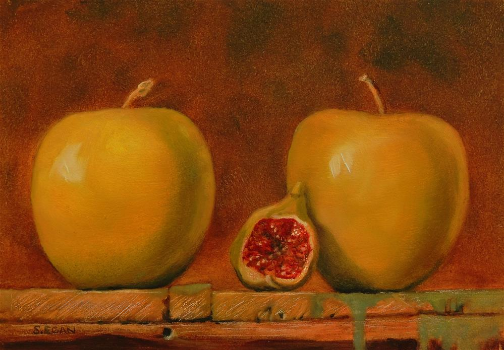 """""""Two Apples and A Fig"""" original fine art by Sharon Egan"""