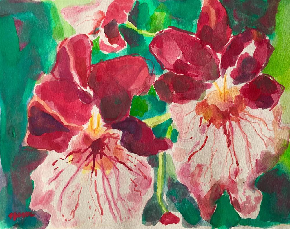 """""""Wild Red Orchids"""" original fine art by Nava Judith"""