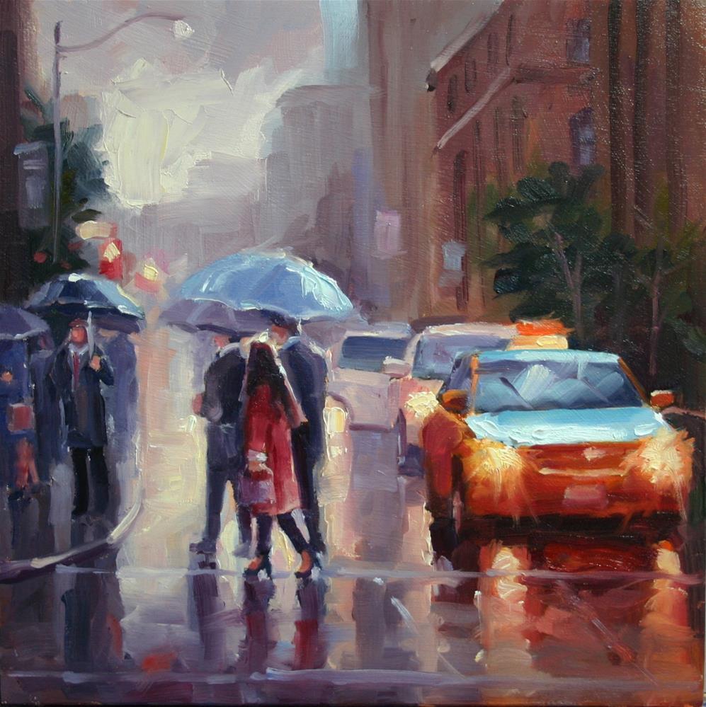 """Waiting in the Rain at TIFF"" original fine art by Catherine Jeffrey"
