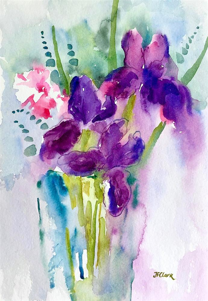 """Iris with Carnation, framed"" original fine art by Judith Freeman Clark"