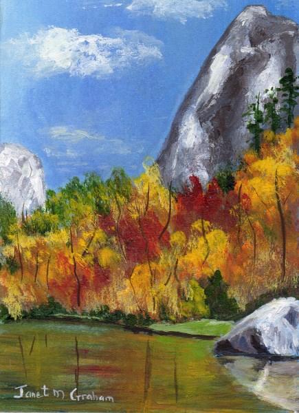 """Autumn Reflections ACEO"" original fine art by Janet Graham"