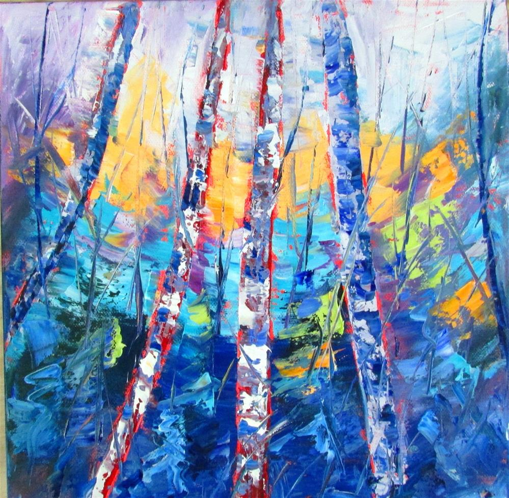 """12 x 12 inch oil Chunky Trees #2"" original fine art by Linda Yurgensen"