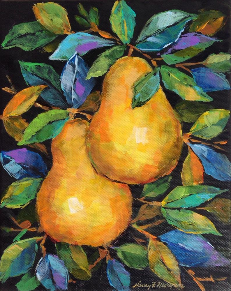 """Golden Pears"" original fine art by Nancy F. Morgan"