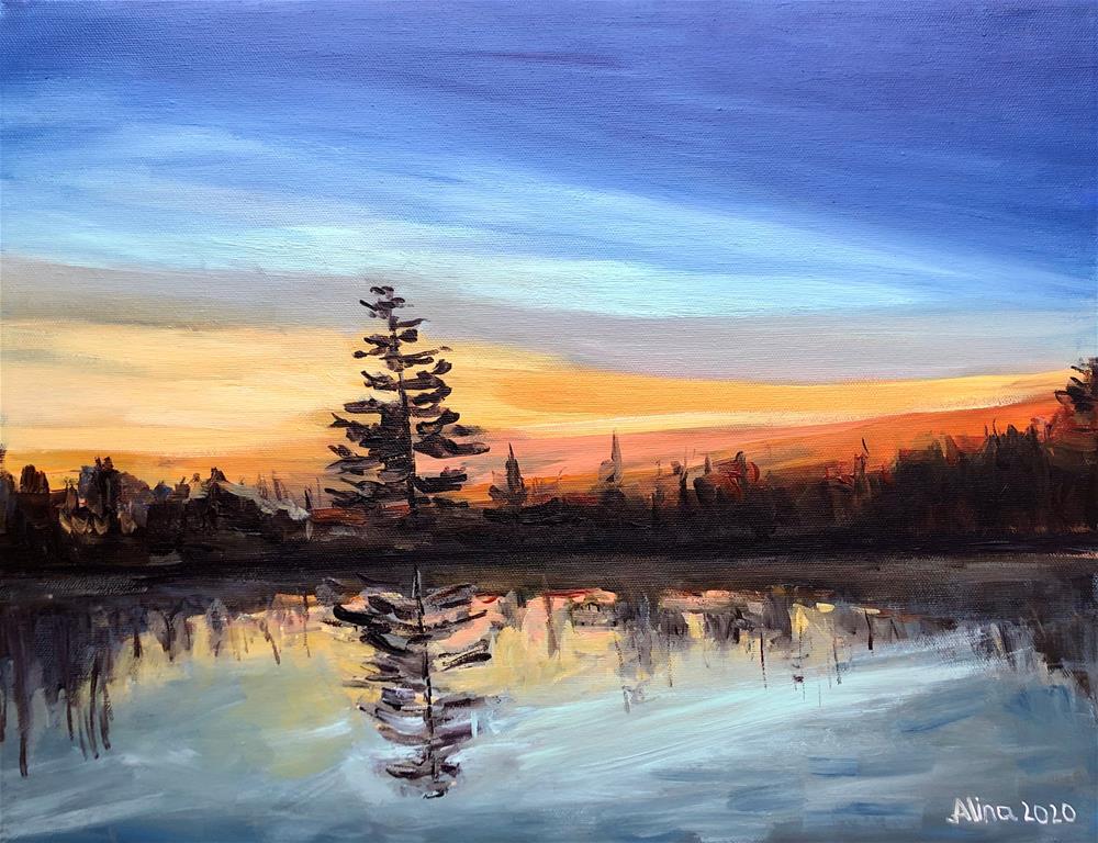 """""""Sunset in Maine"""" original fine art by Alina Vidulescu"""