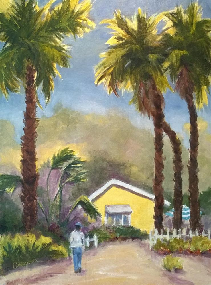 """""""Little Yellow House at Crystal Cove"""" original fine art by Crisynda Buss"""