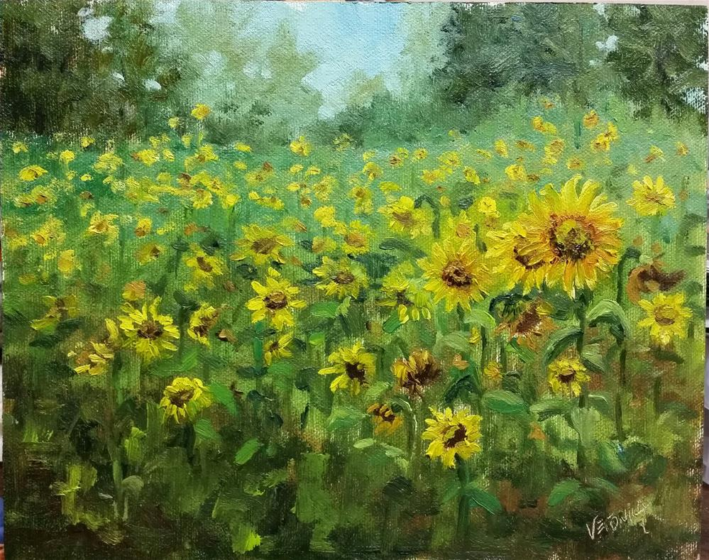 """Sunflower field-en plein air"" original fine art by Veronica Brown"