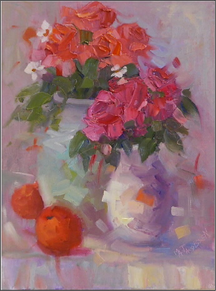 """""""The Scent of Summer, 12x16, oil, flowers, pink, impasto, impressionism, palette knife, roses, Mary"""" original fine art by Maryanne Jacobsen"""