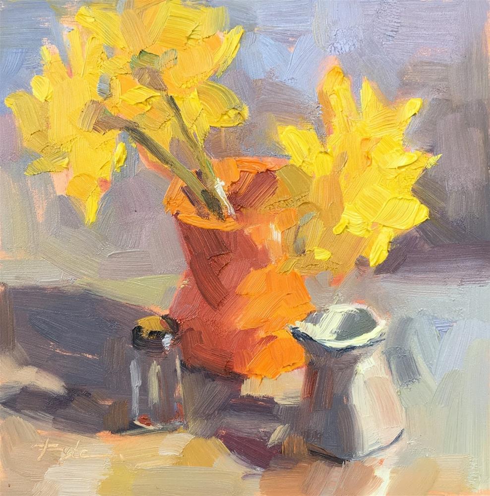 """Daffodils in an Orange Vase"" original fine art by Katia Kyte"