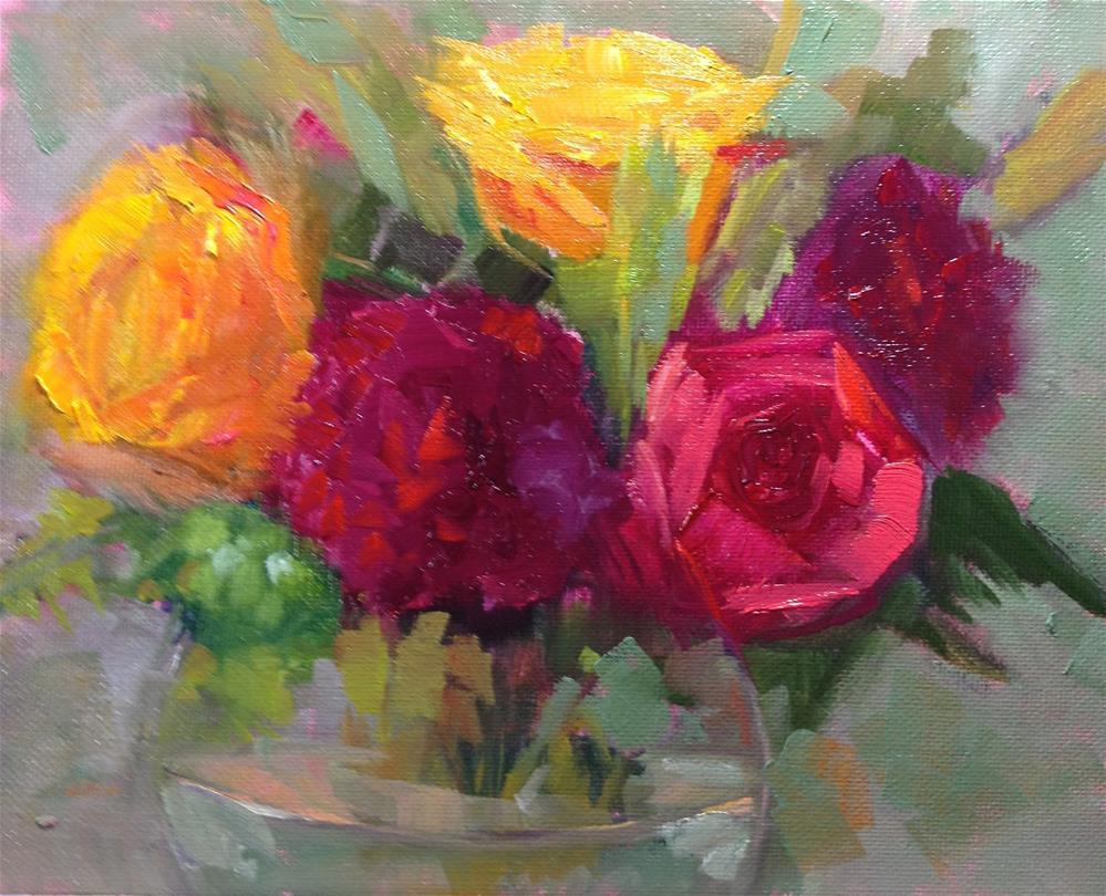 """Roses and Carnations"" original fine art by Carol Josefiak"