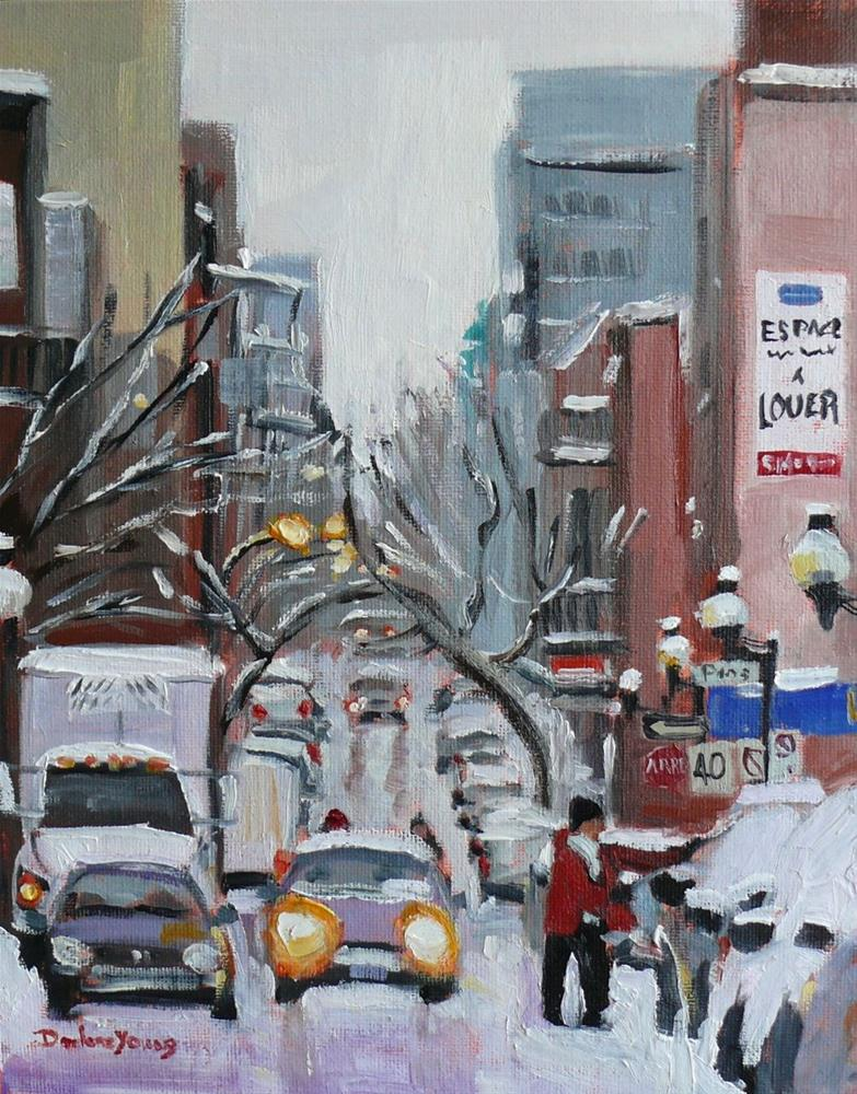 """""""691 Montreal Hiver, Before the Blizzard"""" original fine art by Darlene Young"""