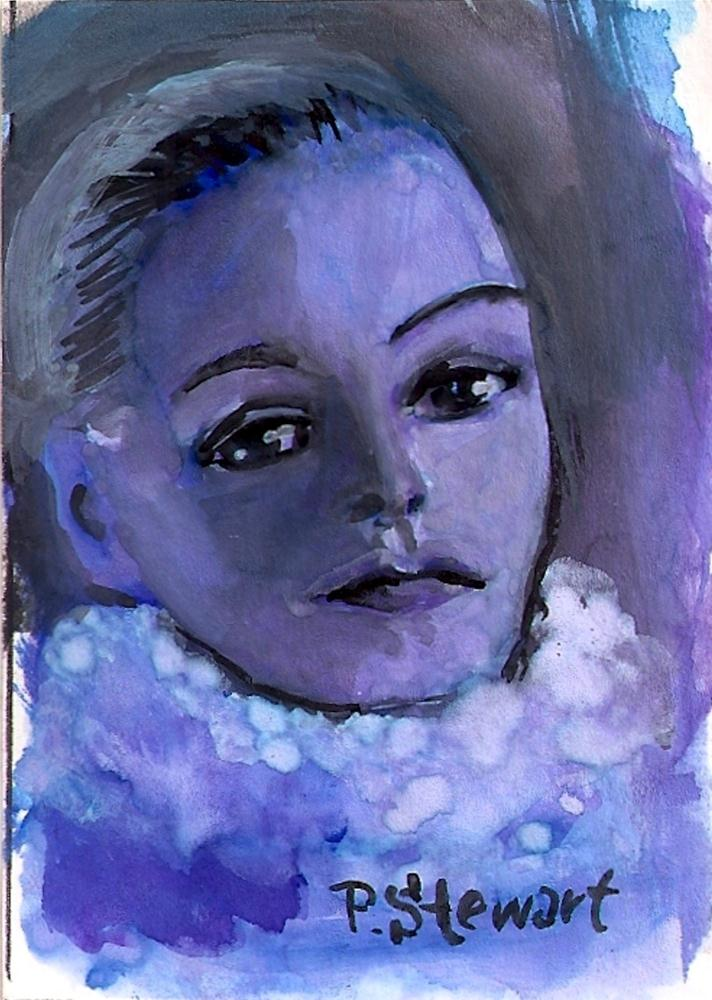 """ACEO - Garbo, Blue"" original fine art by Penny Lee StewArt"