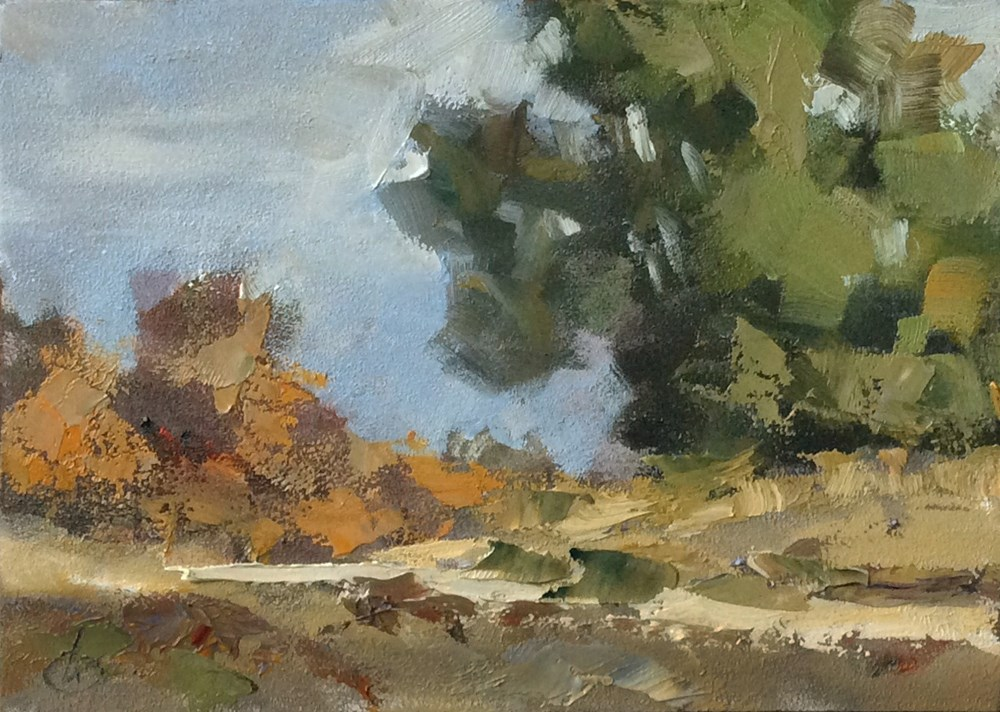 """""""THE BEND IN THE ROAD"""" original fine art by Tom Brown"""